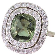 Retro 4.70 Carat Natural Green Sapphire & Rose Cut Diamond Ring, circa 1950