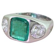 Art Deco 2.28 Carat Emerald & 1.97 Carat Old Cut Diamond Trilogy Ring, circa 1940