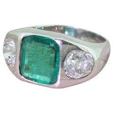 Art Deco 2.28 Carat Emerald & 1.97 Carat Old Cut Diamond Trilogy Ring, circa 1940