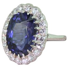 Art Deco 6.93 Carat Natural Ceylon Sapphire & Diamond Cluster Ring, circa 1940