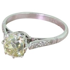 Edwardian 1.33 Carat Fancy Greenish Yellow Old Cut Diamond Ring, circa 1910