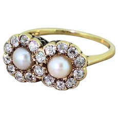 Edwardian Natural Pearl & Old Cut Diamond Double Cluster Ring, circa 1905