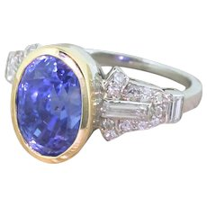 Art Deco 7.29 Carat Natural Ceylon Sapphire & Diamond Ring, circa 1935