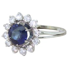 Mid Century 2.61 Carat Natural Sapphire & Diamond Target Ring, French, circa 1965