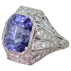 Art Deco 8.90 Carat Natural Colour-Change Sapphire & Diamond Ring, circa 1920