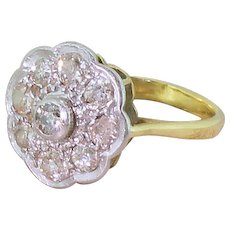 Art Deco 0.86 Carat Old Mine Diamond Cluster Ring, circa 1930