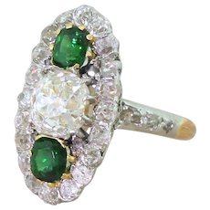Edwardian 2.35 Carat Old Cut Diamond & Tourmaline Cluster Ring, French, circa 1910