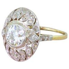 Edwardian 1.30 Carat Old Cut Diamond Cluster Ring, circa 1910