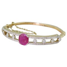 Art Deco Ruby & Old Cut Diamond Bangle, dated 1940