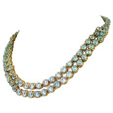 Victorian 70.64 Carat Blue Zircon Double Strand Necklace, circa 1900