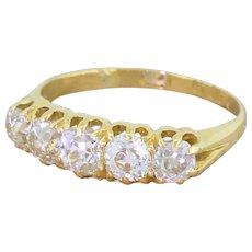 Victorian 1.69 Carat Old Cut Diamond Five Stone Ring, dated 1886