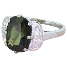 Mid Century 4.67 Carat Natural Green Sapphire Ring, circa 1960