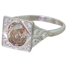 Art Deco 1.52 Carat Fancy Orangey Brown Old Cut Diamond Ring, circa 1925
