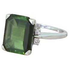 Late 20th Century 4.21 Carat Emerald Cut Tourmaline Ring, French, circa 1970