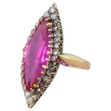 Victorian 5.43 Carat Marquise Cut Ruby & Rose Cut Diamond Navette Ring, circa 1900