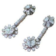 "Art Deco 4.00 Carat Diamond ""Sunburst"" Earrings, Platinum, circa 1940"