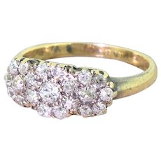 Victorian 0.56 Carat Old Cut Diamond Triple Daisy Cluster Ring, circa 1890