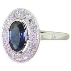 Art Deco 1.25 Carat Sapphire Diamond Halo Ring, French, circa 1935