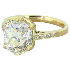 3.66 Carat Fancy Light Yellow Diamond Engagement Ring, 18k Yellow Gold