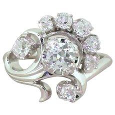 """JABEL 1.03 Carat Old Cut Diamond """"Flower"""" Ring, circa 1945"""