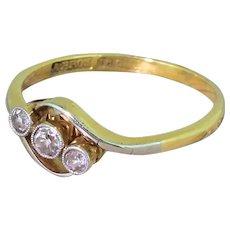 Art Deco 0.20 Carat Old Cut Diamond Trilogy Crossover Ring, circa 1930