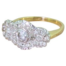 Art Deco 1.30 Carat Old Cut Diamond Cluster Ring, circa 1940