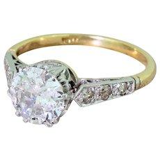 Mid Century 1.22 Carat Old Cut Diamond Engagement Ring, circa 1950