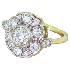 Mid Century 1.16 Carat Old Cut Diamond Cluster Ring, circa 1960