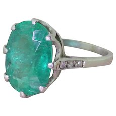 Art Deco 5.20 Carat Oval Cut Emerald Solitaire Ring, circa 1935