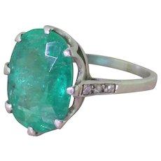 Art Deco 5.20 Carat Oval Cut Emerald Solitaire Ring, circa 1935