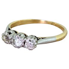 Art Deco 0.85 Carat Old Cut Diamond Trilogy Ring, circa 1925