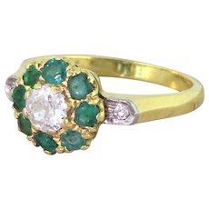 Mid Century 0.30 Carat Old Cut Diamond & Emerald Target Cluster Ring, circa 1950