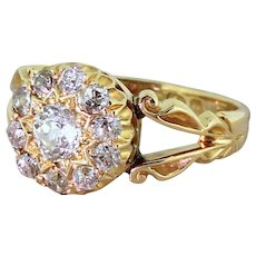Edwardian 0.85 Carat Old Cut Diamond Cluster Ring, Chester, dated 1903