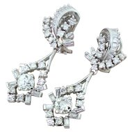 Retro 3.00 Carat Old Cut & Baguette Cut Diamond Drop Earrings, circa 1950