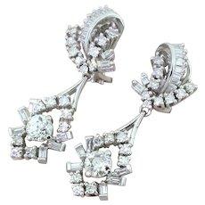 Retro 3.00 Carat Old Cut & Baguette Cut Diamond Drop Earrings, circa 1950