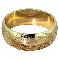 Late 20th Century 18k Yellow Gold Wedding Band Ring, dated 1970