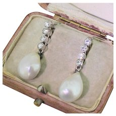 Mid Century Natural Saltwater Pearl & Diamond Pendant Earrings, circa 1950