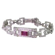 Art Deco 10.00 Carat Diamond & 2.00 Carat Ruby Bracelet, circa 1940