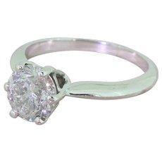 Mid Century 1.43 Carat Transitional Cut Diamond Engagement Ring, circa 1960