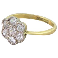 Edwardian 1.00 Carat Old Cut Diamond Daisy Cluster Ring, circa 1910