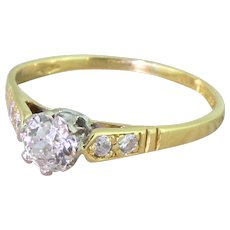 0.47 Carat Old Cut Diamond Engagement Ring, 18k Yellow Gold