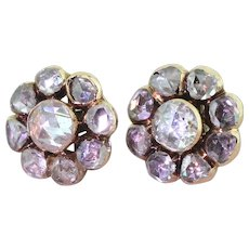 Early Victorian 2.80 Carat Rose Cut Diamond Cluster Earrings, circa 1850