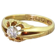 Edwardian 0.50 Carat Old Cut Diamond Solitaire Ring, dated 1910