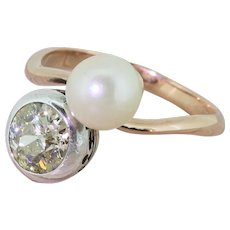 Art Deco 1.15 Carat Fancy Light Yellow Diamond & Pearl Crossover Ring, circa 1935