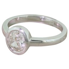 0.75 Carat Oval Shaped Old Cut Diamond Engagement Ring, 18k White Gold