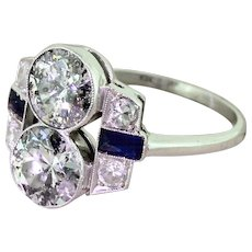 Art Deco 2.00 Carat Old Cut Diamond Double Solitaire Ring, circa 1920