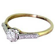 Art Deco 0.40 Carat Old Cut Diamond Engagement Ring, circa 1915
