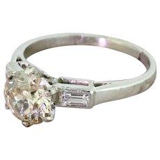 Art Deco 1.67 Carat Light Cognac Old Cut Diamond Engagement Ring, French, circa 1925