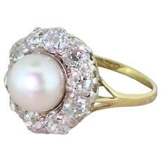 Art Deco Pearl & 2.00 Carat Old Cut Diamond Cluster Ring, circa 1920