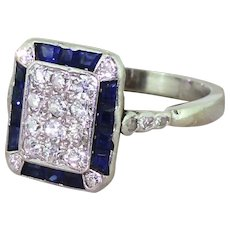 Retro Old Cut Diamond & Calibre Cut Sapphire Rectangle Cluster Ring, circa 1945